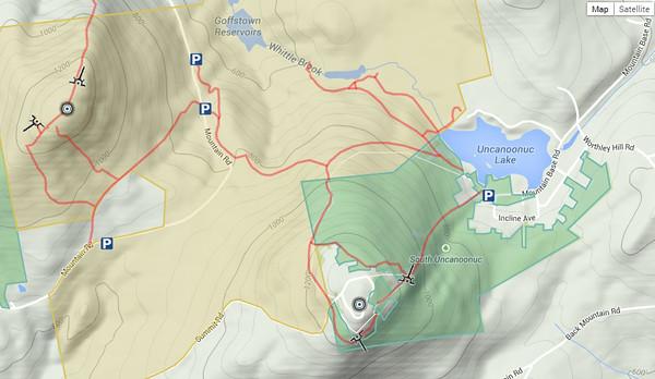 Mt Uncanoonuc NH Hiking Trails